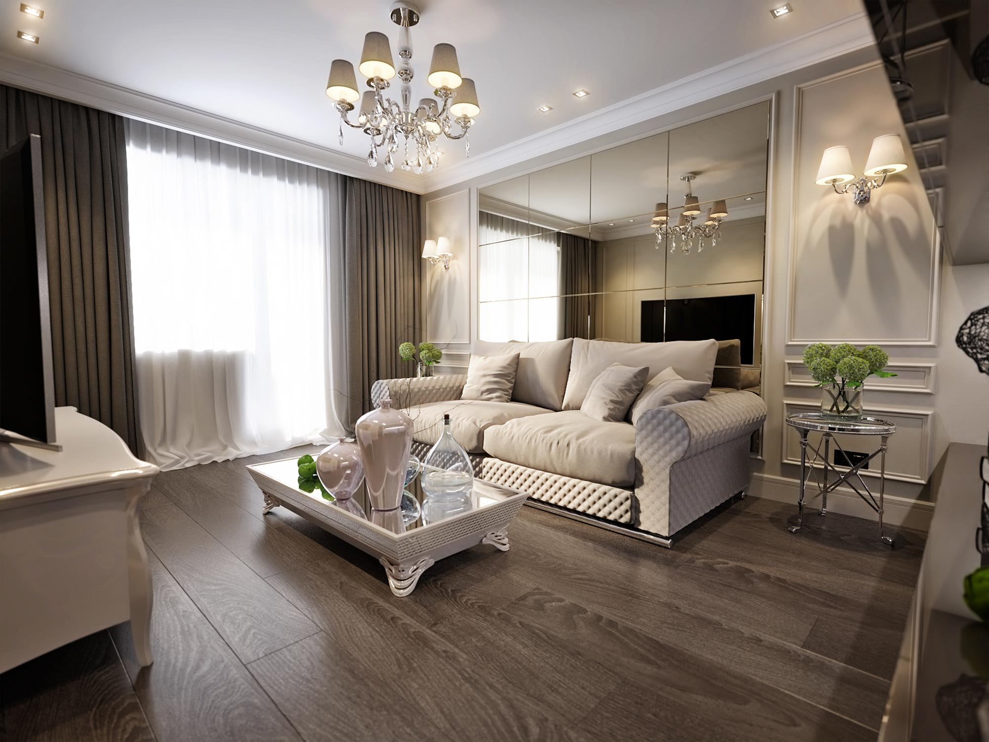 Light shining through the curtains to a modern luxury living room interior with beautiful lamps on the ceiling and two person couch with low table with glass vase