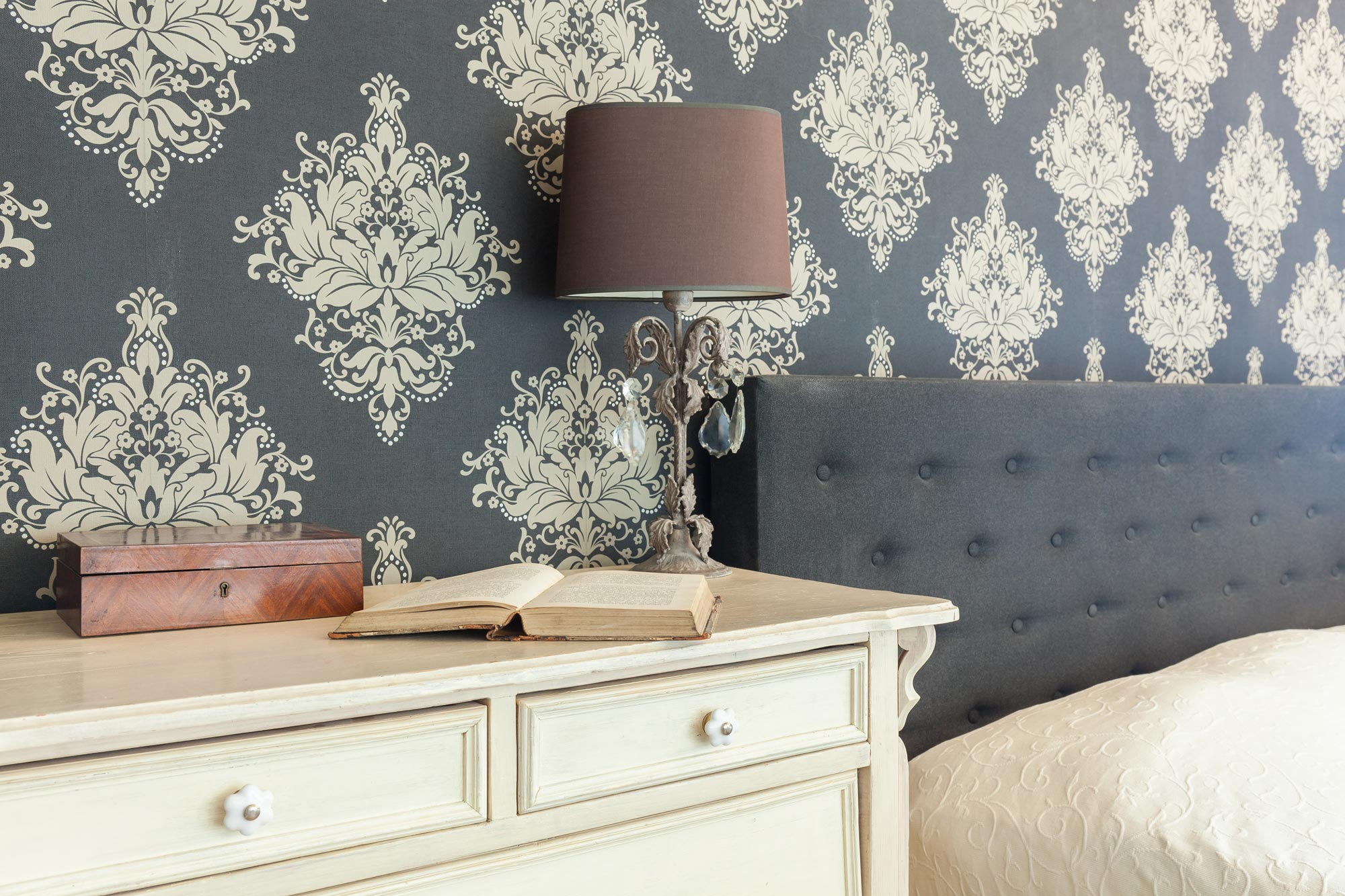 A close up pattern wallpaper of the bedroom behind of cream coloured cabinet with books and lamp